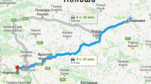 Варшава Карпач на карті